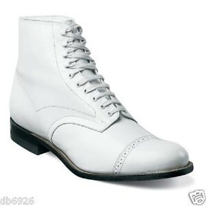 Madison Stacy Adams Ankle Boot Biscuit Casual Shoes 00015-100 White