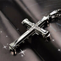 Unisex Men Women Stainless Steel Cross Pendant Necklace Chain Jewelry LD