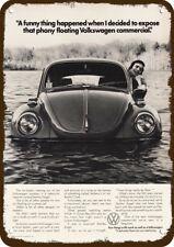 1973 VOLKSWAGEN BEETLE Car Vintage Look REPLICA METAL SIGN - VW BUG FLOATS