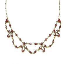 Anne Koplik Ruby Red Swarovski Crystal Double Layer Necklace ~Handmade in USA~
