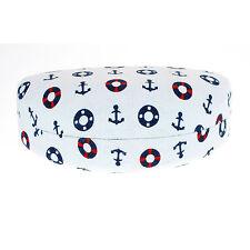 Sunglasses & Glasses Protective Hard Case Half Oval Sailor Print Fabric