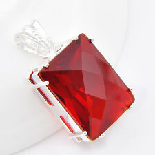 New Year Gift  For Lover Luxury Huge Garnet Gem Silver Necklaces  Pendant