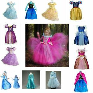 Kinder Mädchen Prinzessin Kleid Cosplay Kostüm Elsa Belle Cosplay Party Krone