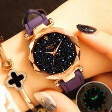 Ladies Watch Fashion Quartz Watch Starry Sky Multicolor Leather Wristwatch