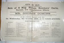 More details for 1899 ely cambs original auction poster nutholt lane horses butchers carts etc