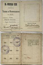 2066) Tessera di Riconoscimento Il Secolo XIX Genova 1944/1947
