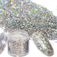 10g Box Holo Laser Nail Glitter Sequins Shining Silver Hexagon Manicure Decor