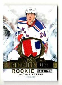 OSCAR LINDBERG NHL 2015-16 UPPER DECK PREMIER ROOKIE MATERIALS #/25 (RANGERS)