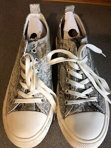 Ladies Primark Grey Snake Skin Print Lace Up Trainers Size 7