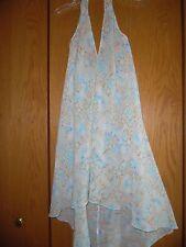 Josh Brody JB1071 Tan Blue Swirl Halter Maxi Dress NWT One Size Fit all