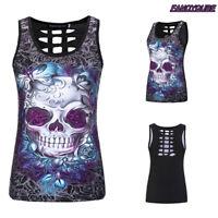 2018 Women's Skull Print Sleeveless Vest Tank Top Hollow Summer Slim T Shirt