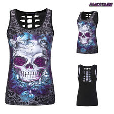 2018 Women's Skull Print Sleeveless Vest Tank Top Hollow Summer Slim T Shirt