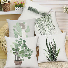 Cotton Linen Green Plant Pillow Case Sofa Waist Throw Cushion Cover Home Decor