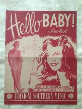 Spartito - Hello Baby - Musica di Chapiro e Marbot - 1946