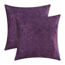 2Pcs Plum Purple Cushion Cover Pillow Shell Solid Dyed Soft Chenille 20x20inches