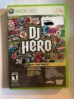 DJ HERO - XBOX 360 - COMPLETE W/ MANUAL - FREE S/H - (T2)