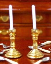 Gold Candlesticks Pair, Dolls House Miniature, Home Decor 1.12 Scale
