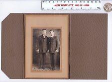 Antique 1920s Cabinet Photo Folder Frame Photograph Two Men Id'd