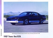 1987 Pontiac Firebird Trans Am GTA Info/Specs/photo production numbers 11x8