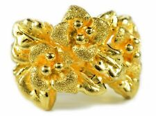Pure Solid .9999 24K Fine Gold Art Flower Statement Ring