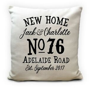 Personalised New Home House Moving House warming Cushion Cover Gift 16 Inch 40cm