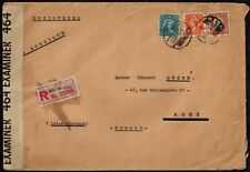 Registered Cover from Shanghai to Agen, France w/ Bermuda Censor Tape 464 1F