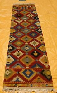 Fine Antique Hand Made Turkish Faded Cream Red Wool Long Kilim Runner 300x80cm