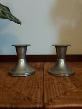 Vintage Pair Of Silver Metal Shabby Candlesticks Candle Holders