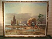 Asian Landscape Harbor Oil Painting Signed