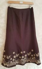 Women's Skirt Size 8 Linen by Precis Petite A-line Brown Embroidered