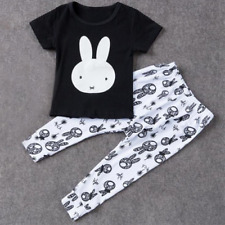 2 Piece Toddler Baby Clothes Bunny T-Shirt Top + Pants Outfit Set