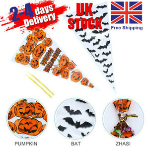 UK 100pcs Halloween Cone Bags Sweet Treat Candy Kid Party Cellophane Ties