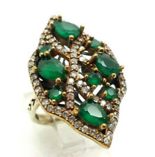 Emerald Cluster CZ Sterling Silver 925 Ring 9g Sz.7.75 RET322