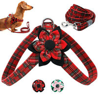 Fashion Flower Studded Dog Harness and Leash set Pet Soft Fabric Walking Vest