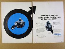 1967 Triumph T100 /R Daytona Motorcycles AMA Arce Wins vintage print Ad