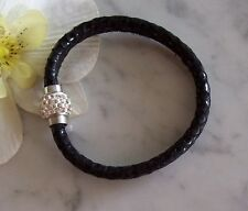 Echt-Leder-Armband schwarz Schlangen-Print Strass-Magnetverschluss