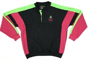 Vintage 90s USA Olympic Retro Neon Pink Green Pullover Sweater Size M JC Penny