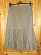 GERRY WEBER beige brown taupe pure linen midi flare gypsy boho skirt 16 42