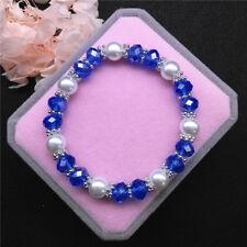 Wholesale Fashion Jewelry 8mm Pearl 8mm Crystal Beads Stretch Bracelet FR06
