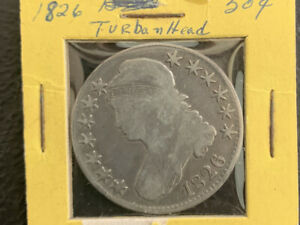 1826 50C F / Nice Turban Head Half!   & *No Reserve!