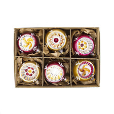Handblown Vintage Glass Painted Rim Christmas Tree Decoration (Box of 6)
