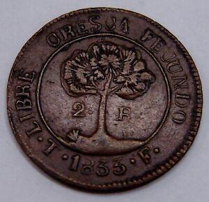 Honduras - 1833 - Copper 2 Reales - Contemporary C/F - Scarce