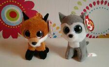 Ty Beanie Boo Boos Bundle SLUSH Husky Key Clip + SLICK Fox Key Clip Soft Toy