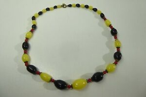 VINTAGE RED BLACK YELLOW BEADED NECKLACE