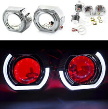 "LHD Car 2.5"" Bi-Xenon Projector Lens LED Shrouds White Angel with Red Demon Eyes"