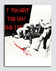 "BANKSY STREET ART *FRAMED* CANVAS PRINT I fought the law BW 24x16"" stencil -"