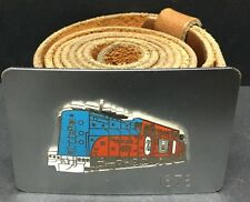 """[61404] OLD CON RAIL BELT BUCKLE by """"HOOVER'S"""" ON SIZE 40-44 LEATHER BELT"""