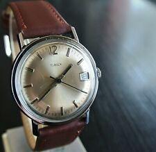 VINTAGE TIMEX 1979 SPORT DAY MECHANICAL WIND UP MEN'S SILVER BROWN LEATHER WATCH
