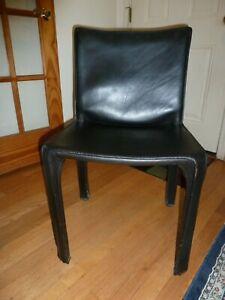 Cassina Saddle Leather Dining Chair, Black Italian Design, Mario Bellini