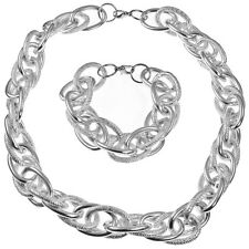 Oversized silver textured rope chain choker necklace & bracelet jewellery set